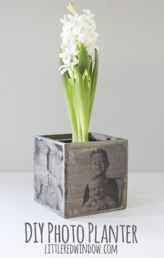Mother's Day DIY Wooden Photo Planter Gift