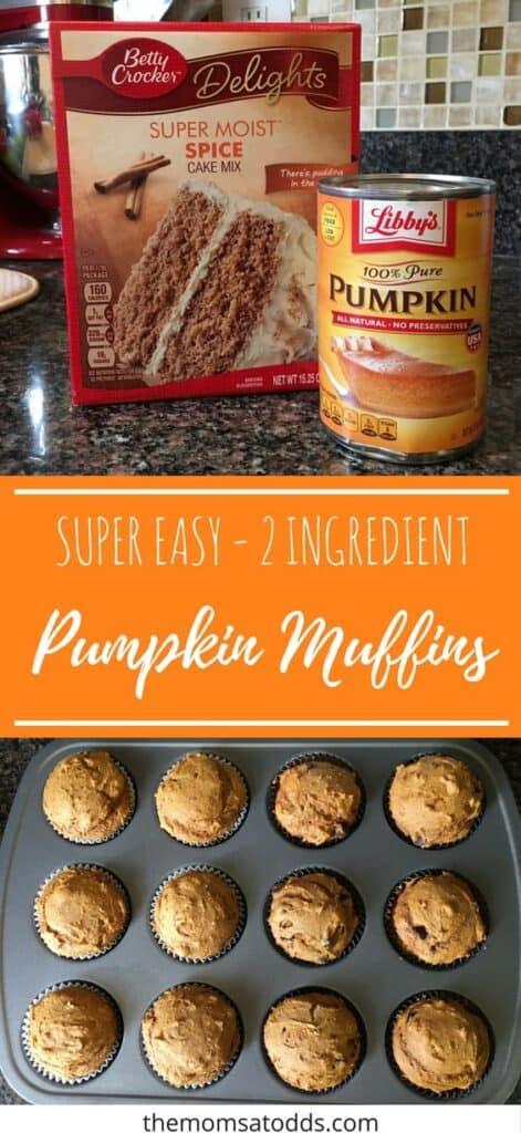 2 Ingredient Pumpkin Muffins Fall Dessert