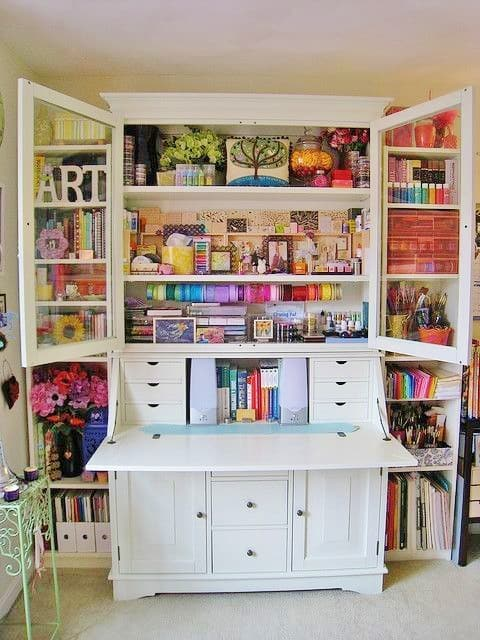 The Secretary Desk is The Perfect Small Office Space Solution l Dorm Furniture l Apartment Furniture l DIY l Small Office l Home Office l Organization