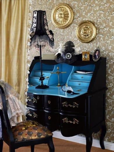 Cute black and turquoise secretary desk. Perfect for small spaces like dorms, apartments, and bedrooms.