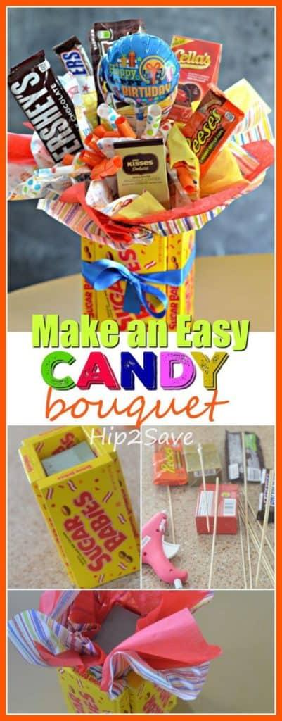 Candy Bouquet in a Sugar Babies box. Valentine's Day DIY boyfriend gifts.