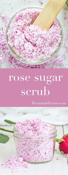 Homemade Rose sugar scrub. DIY boyfriend gifts.
