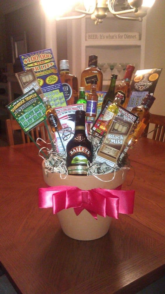 Liquor and Lotto ticket Flowerpot Man Bouquet Idea. The best DIY Valentine's day gifts for him