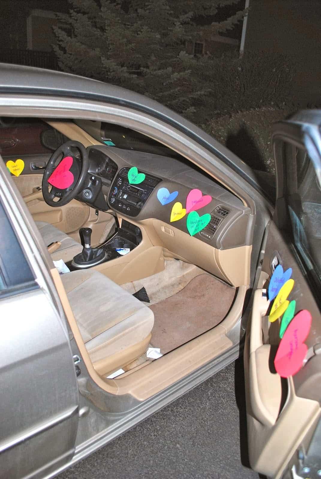 Car Full of Heart Notes/DIY Boyfriend gifts