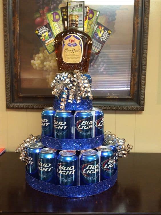Beer and Crown Royale cake. DIY boyfriend gifts.