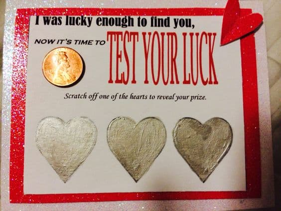 DIY Lottery Scratcher Card from our Ultimate DIY Guide to Valentine's Day #DIYboyfriendgifts #giftsforhim