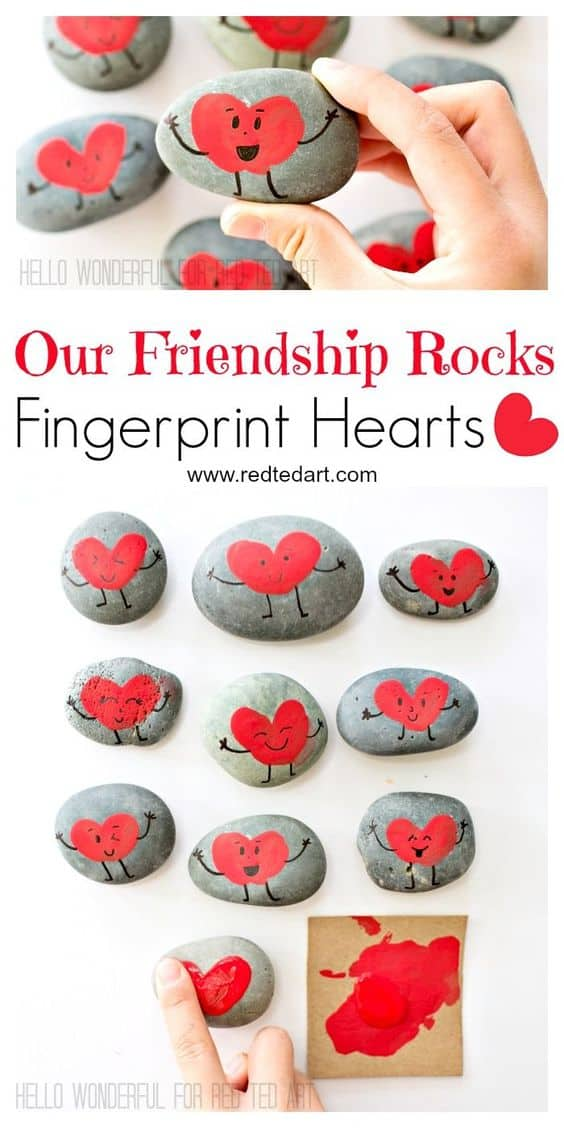 Easy DIY Friendship Fingerprint Stones/ The Ultimate DIY Guide to Valentine's Day