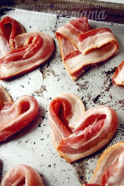 Heart Bacon. Ultimate DIY Guide to Valentine's Day. DIY boyfriend gifts.