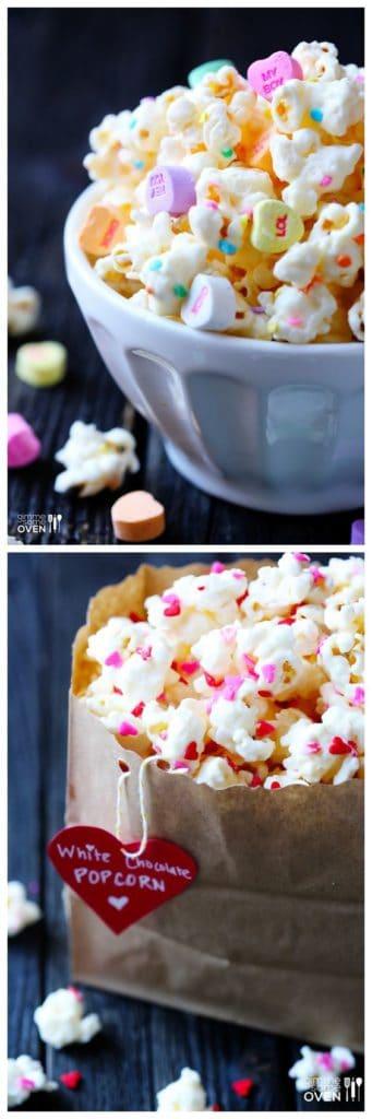 Conversation hearts popcorn. DIY boyfriend gifts