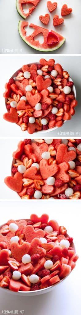 Heart shaped fruit salad. DIY boyfriend gifts