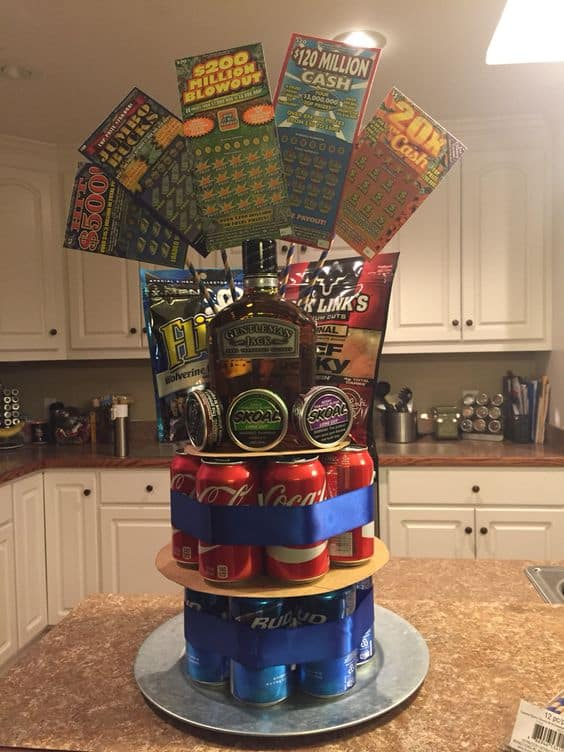 Beer, lottery, lube, man cake. DIY boyfriend gifts.