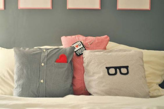 DIY pillows made out of his shirt. great DIY boyfriend gifts