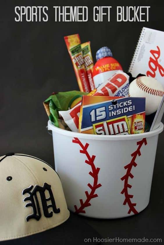 baseball gift basket. DIY boyfriend gifts