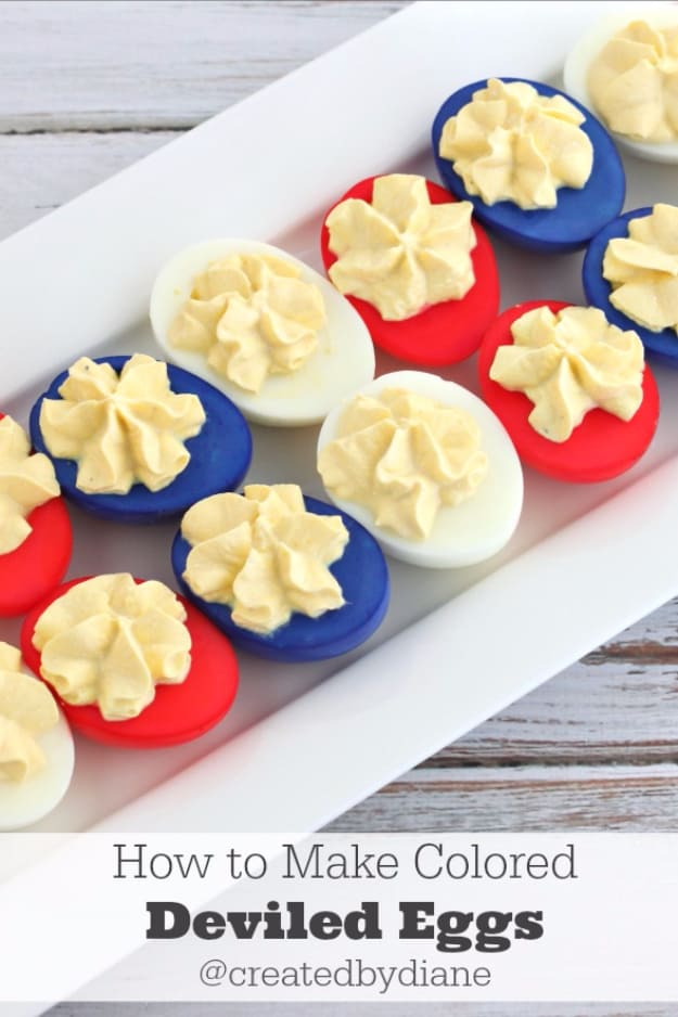 Easy Red White and Blue 4th of July Deviled Eggs. The perfect appetizer for your 4th of July or Memorial Day party.