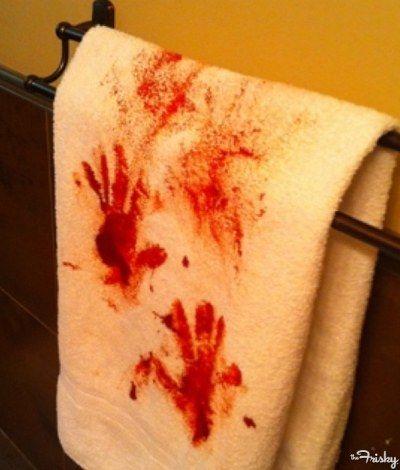 Easy DIY Scary Halloween Bathroom Ideas Bloody Towels