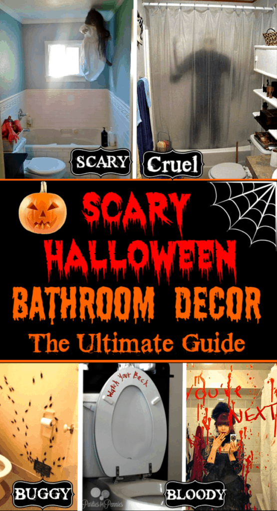 Halloween Bathroom Decorations that will scare the crap out of your guests easy super easy yet effective for Halloween parties.
