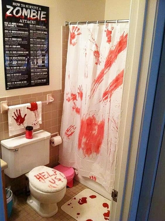 Easy DIY Bloody Halloween Decorations for the bathroom. Scary, budget party idea.