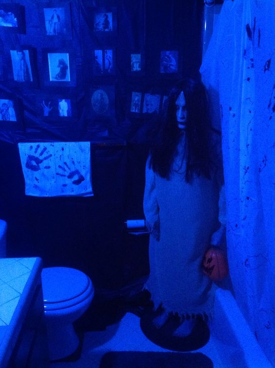 DIY Halloween Bloody Scary Bathroom Decorations doll watching you on the toilet