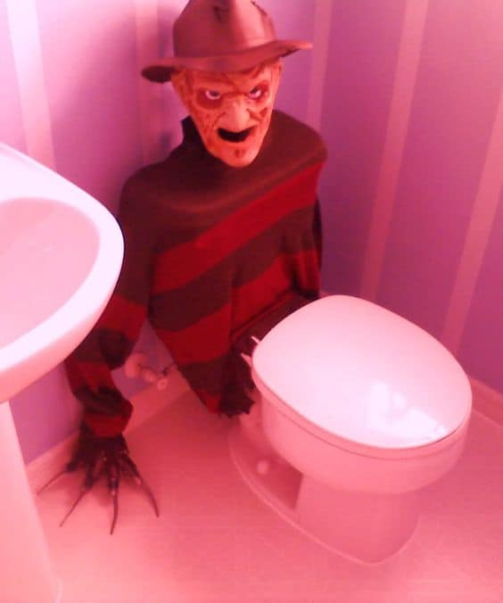 Scare the crap out of them literally with this Freddy Kruger easy Bloody Bathroom Decor idea Halloween Bathroom Decor