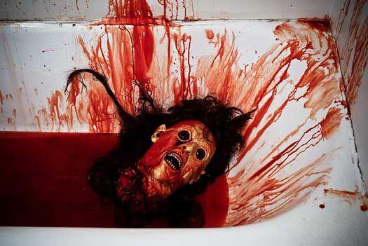 Easy DIY Halloween Bathroom Decorations - Bloody bathtub head idea