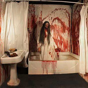 Bloody Halloween Bathroom Decor, Gruesome Bathtub Scene