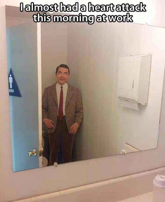 Cardboard cut out of MR Bean for a quick Halloween Bathroom Decoration that will scare the crap out of them