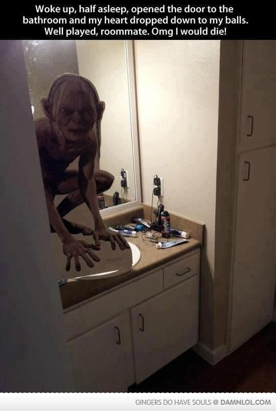 Cardboard cut out of Lord of the Rings goblin for Halloween bathroom decorations that will scare the crap out of them literally