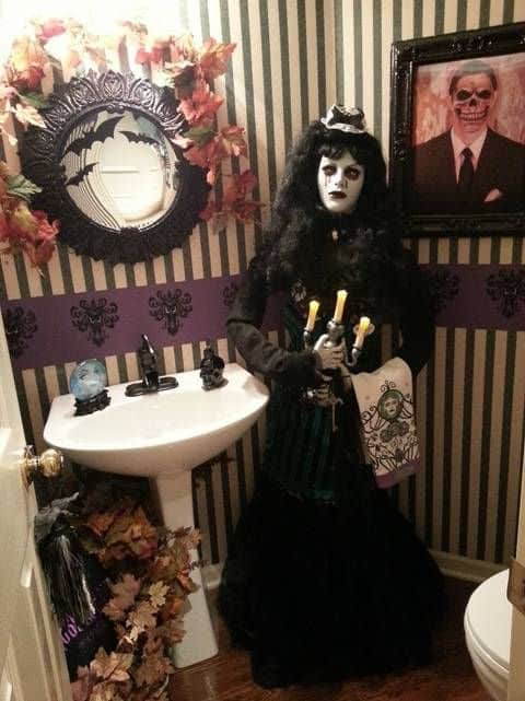 Scary Mannequin Goth Towel Lady for a Halloween Bathroom Decorations to greet guests