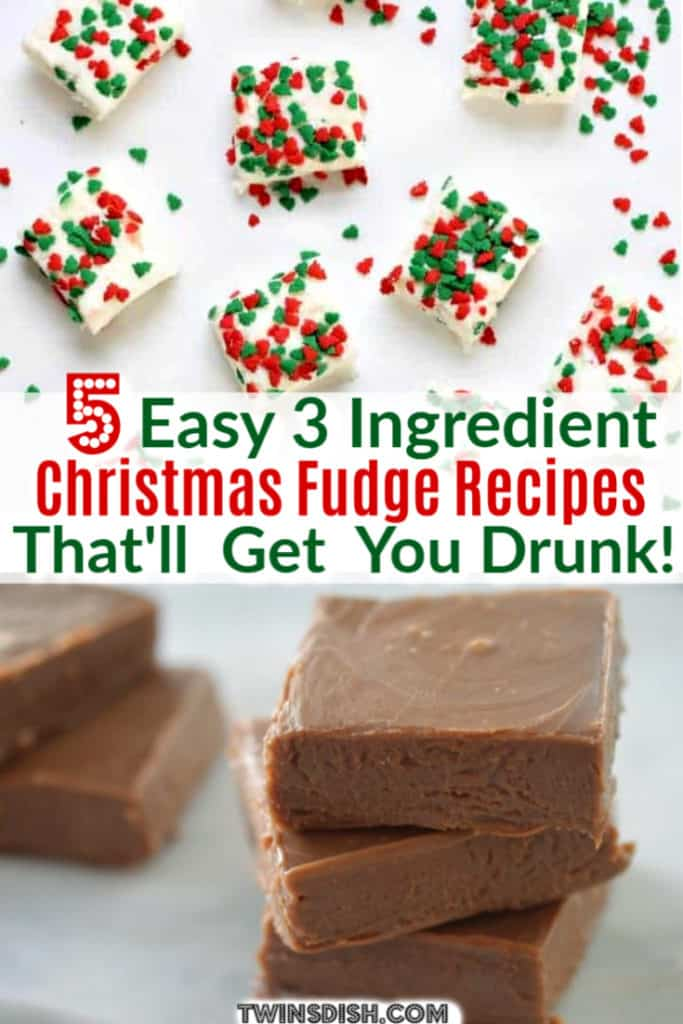 Super Easy 3 Ingredient Christmas Dessert Alcoholic Fudge Recipes. Great for a crowd, gift for him, or party.