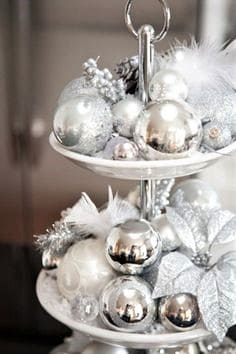White and silver ornaments on a 3 tier tray luxury DIY Christmas decor