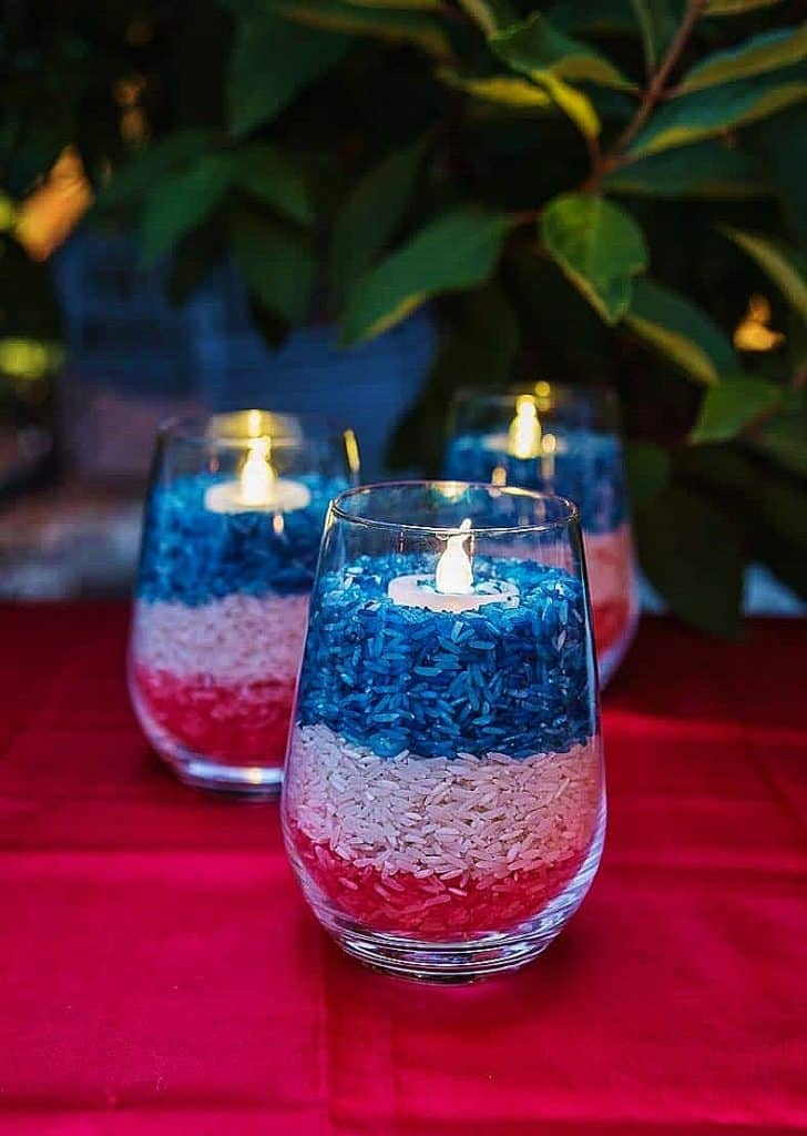 Easy DIY Patriotic Votives using food coloring and rice. 4th of July party decoration ideas.