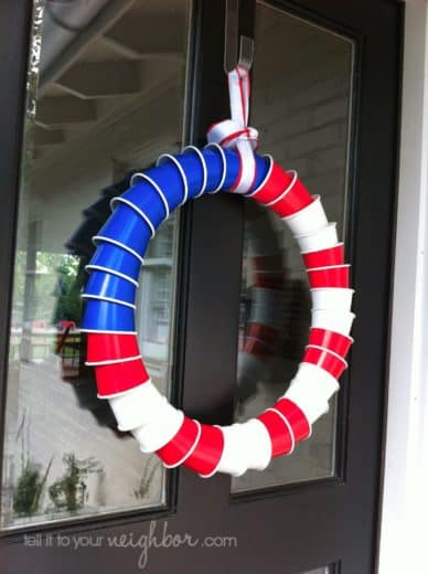 Easy DIY plastic cup wreath 4th of July decoration. 4th of July party ideas.