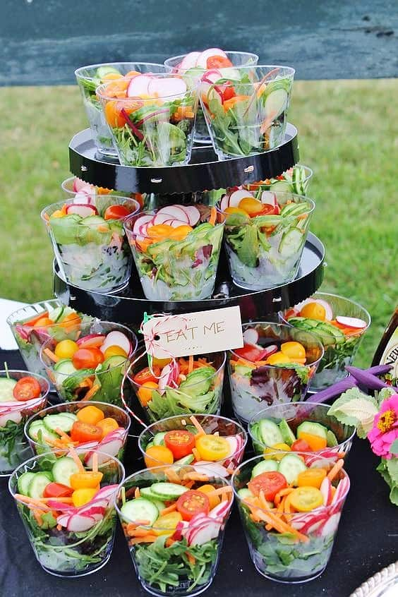 Easy DIY 4th of July Summer Party Food ideas. Serve healthy salad in individual plastic cups for a beautiful display. Perfect for an outdoor wedding too.