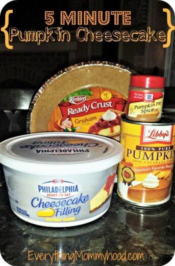 Easy 5 Minute Pumpkin Cheesecake Thanksgiving Dessert