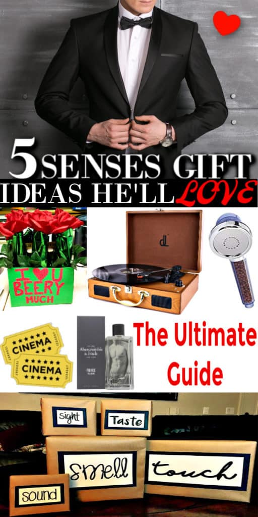 The Ultimate Gift List including 5 senses gifts for him. Perfect for Valentine's Day, Christmas or any special occasion.