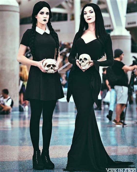 Wednesday and Morticia Adams Halloween Costume Idea
