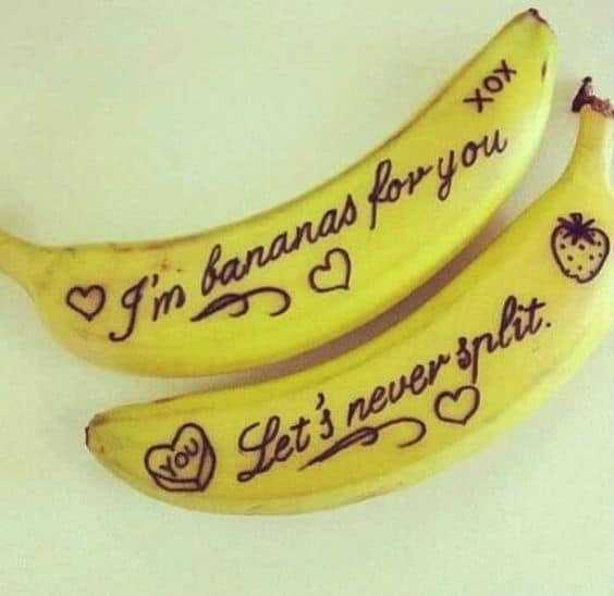 Bananas surprise Valentines Day or love note idea. Great last minute idea. DIY boyfriend gifts.