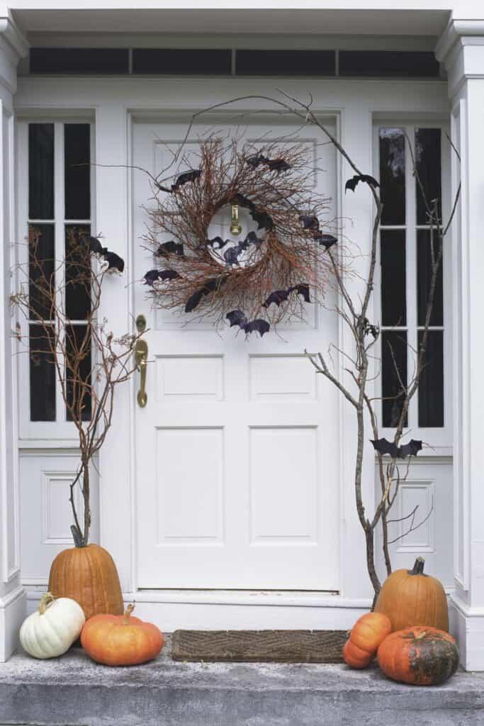 Bat Branches and wreath frontdoor decor
