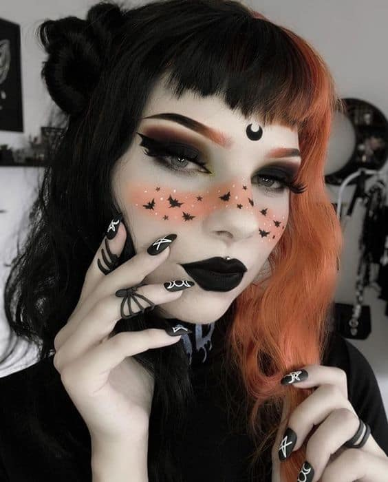 Unique Witch Costume Make up with bats