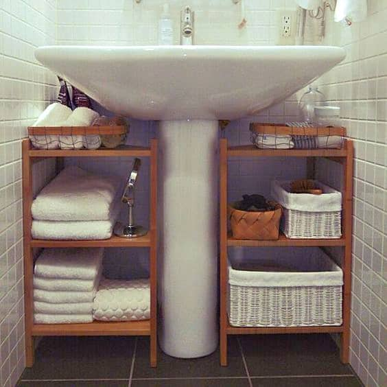 Use Bathroom shelves to creat more storage in a small bathroom