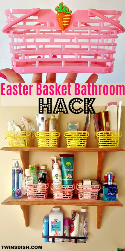 Easy Bathroom decor idea using recycled Easter Baskets to makeover an apartment or small bathroom on a budget. Great DIY organizing ideas and hacks
