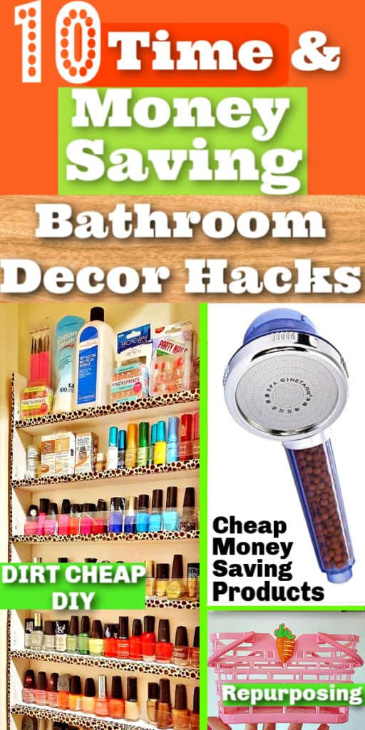 DIY Bathroom Decor and Organization ideas for apartment decorating on a budget. Perfect for small spaces, or college dorms , rentals, and first apartments or small homes. Includes dollar store, storage, and upcycle ideas. #DIY #BathroomDecor