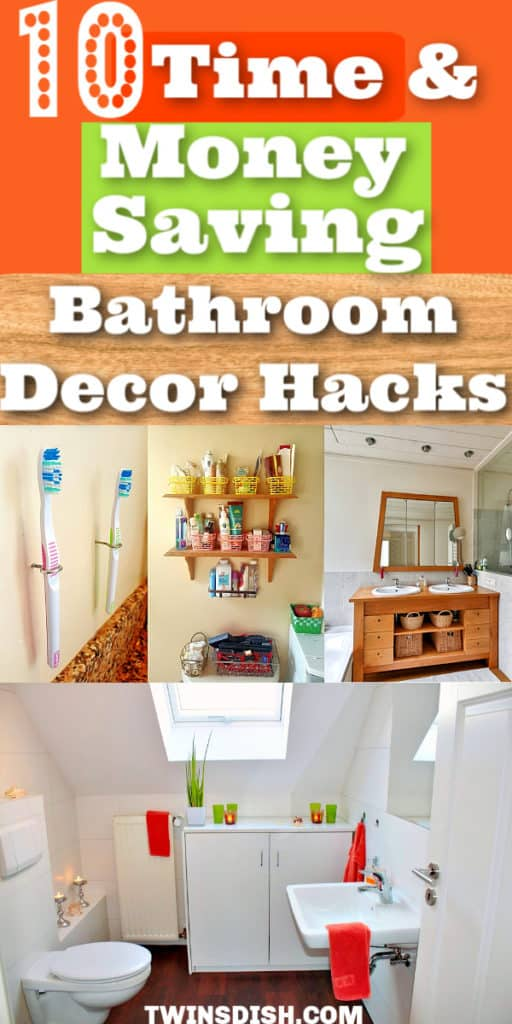 10 DIY Bathroom Decor and Organization ideas for Apartment decorating on a budget. Perfect for small spaces, or college dorms , rentals, and first apartments or small homes. Includes dollar store, storage, and upcycle ideas.