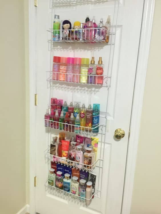 Easy Bathroom organization DIY Home Decor ideas using basket over door spice rack as storage shelves for small spaces on a budget