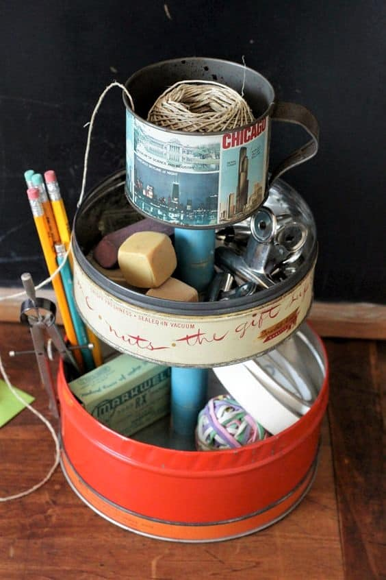 The best easy DIY small Bathroom decor ideas on a budget for apartments. Make dollar store tiered trays to organize counter tops out of old Christmas tins and containers to create more storage.. #Craft