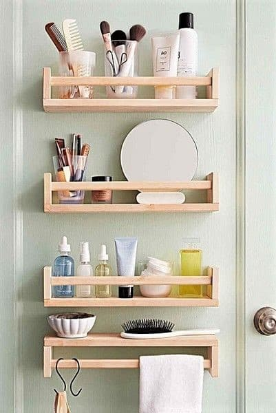 Easy Bathroom organization DIY Home Decor ideas using Ikea spice rack as storage shelves for small spaces on a budget #IkeaBathroomHack