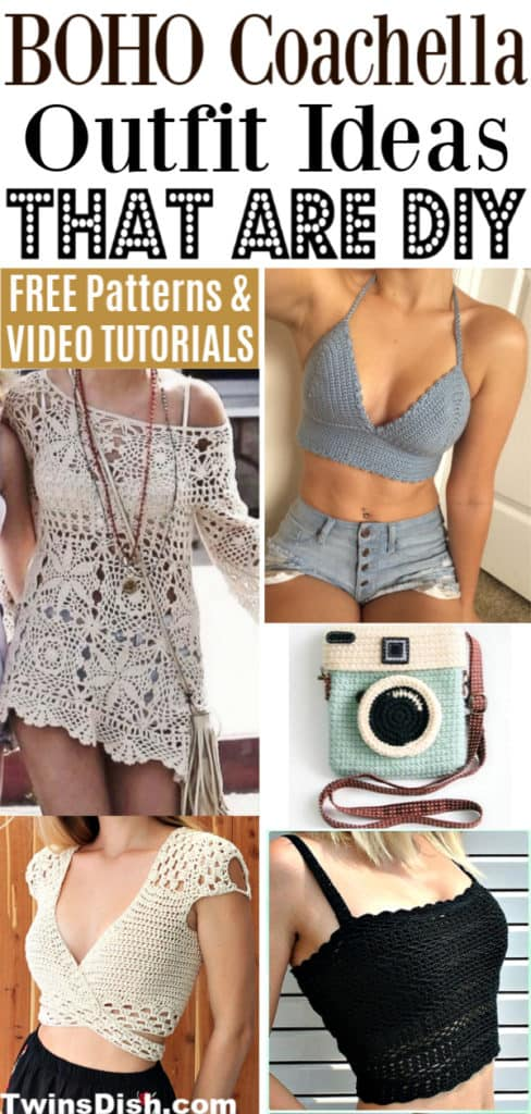 DIY Bohemian Coachella Crochet Outfit Ideas with the best free patterns and video tutorials. Trendy and Cute.