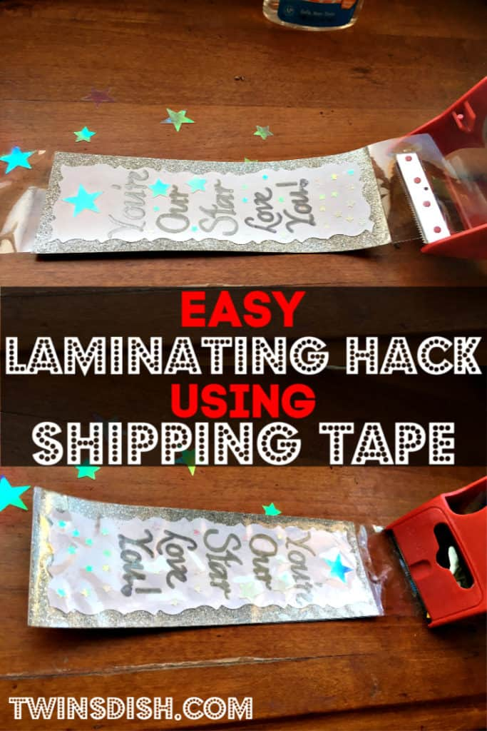 Easy DIY laminating hack for bookmarks using shipping tape. Kid friendly Mother's Day gifts.