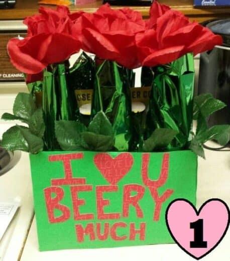 Valentine's Day bouquet of beer--easy DIY gift basket idea for men