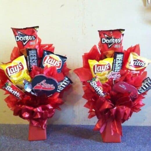 Valentine's day snack gift basket idea for boyfriend, husband, co worker, or kids